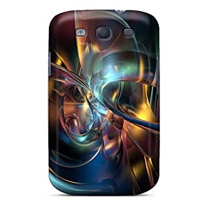 Galaxy S3 Case Cover - Slim Fit Tpu Protector Shock Absorbent Case (rotation Curves Abstract)
