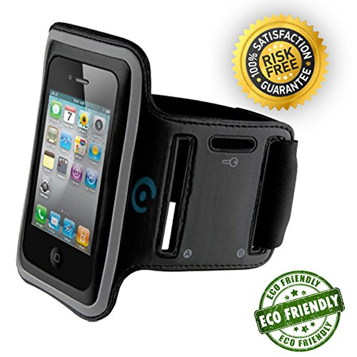 Earhoox Armband - Water Resistant - Adjustable Sports Band - Lightweight, Breathable Neoprene - Compatible with iPhone 4-7 & Samsung S2-S6 - with Built-in Key Holder (S2 Sports Armband)
