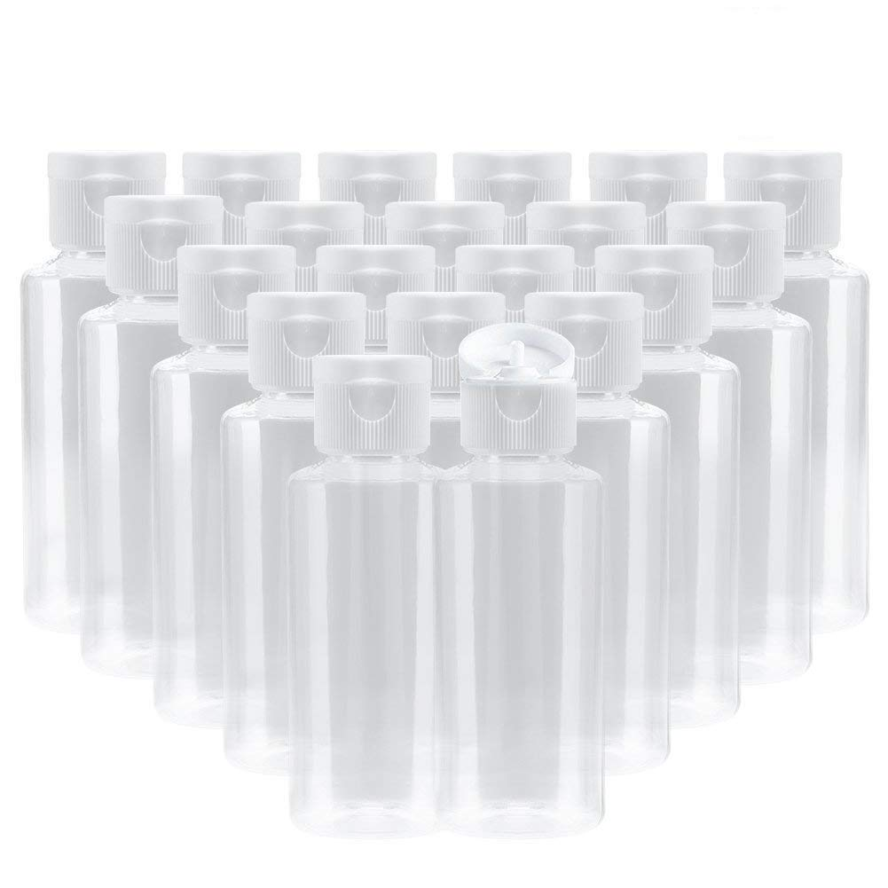 Bekith 20 Pack 2 oz Clear Plastic Empty Bottles Travel Containers Flip Cap - BPA-Free
