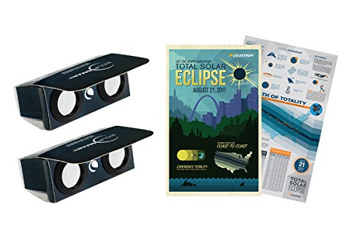Celestron ISO Certified, 2017 North American Total Solar Eclipse EclipSmart 2X Power Viewers Solar Observing Kit, Black (44406)