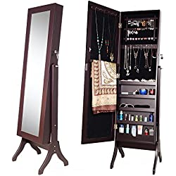 Merax Jewelry Cabinet Lockable Standing Jewelry Armoire Organizer Mirrored Jewelry Armoire with Stand (Brown)