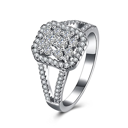 Women's 925 Sterling Silver Square Hollow Cubic Zircon Bridal Wedding Band Eternity Princess Engagement Promise Ring Size 8 - Square Dancer Costume
