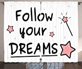 Quotes Decor Collection &quotFollow Your Dreams'' Magic Sticks Stars Calligraphy Text Simple Handwriting Style Living Room Bedroom Curtain 2 Panels Set Black Pink White