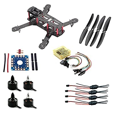Floureon DIY FPV250 Mini Racing Sport Quadcopter Combo w/Motor ESC Propeller, include Glassy Carbon 250 Quadcopter Frame, Motor, ESC CC3D Flight Controller (Unassembled)