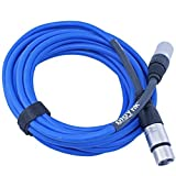 ploYnk Premium Male to Female 3 pin XLR Mic Cable Microphone Audio Cord - 100 FT long: Blue