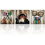 """art for kids rooms Kolo Wall Art Total 60""""x20"""" Abstract Animals Frog Gorilla Dog Painting Picture Image Printed on Canvas Home Wall Living Room Kid's Room Decor (20""""x20""""x3, Friends)"""
