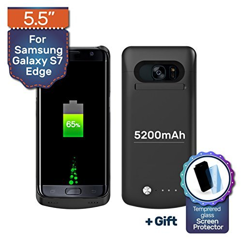 Never Run Out 5200mAh Backup Battery Charger Protective Case for Samsung Galaxy S7 Edge, Fast-charging Power Bank. Light and Slim + Gift: Glass Screen Protector