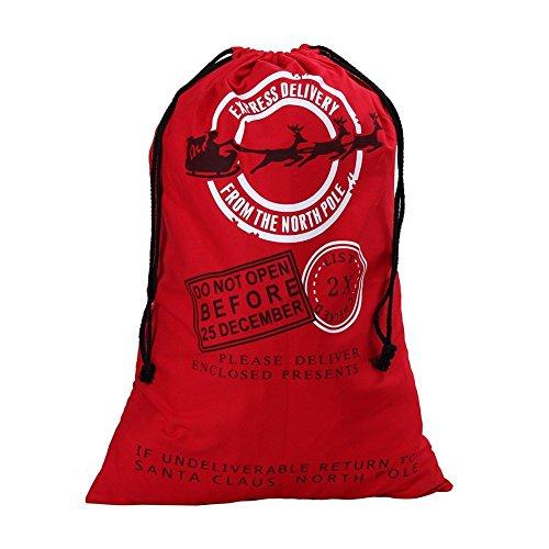 YAMATE Drawstring Santa Sack | Personalized Jumbo Santa Bags for Storing Christmas Gifts, Holiday Presents, Stocking Stuffers or Decorations