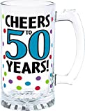 """The Party Continuous 50th Birthday Party """"Cheers to 50 Years"""" Tankard , Blue with Multi Colored Dots , 15 Ounces, Glass"""