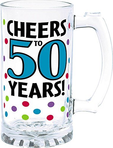 Amscan The Party Continuous 50th Birthday Party Cheers to 50 Years Tankard , Blue with Multi Colored Dots , 15 Ounces, Glass