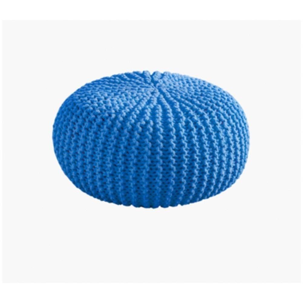 YRW ONDER Dressing Hocker Grobgewebte, feinkörnige Waschlappen/niedrige Hockerpfeiler/dekorative Fußhocker aus Reiner Baumwolle Startseite Stil (Farbe : Blue)
