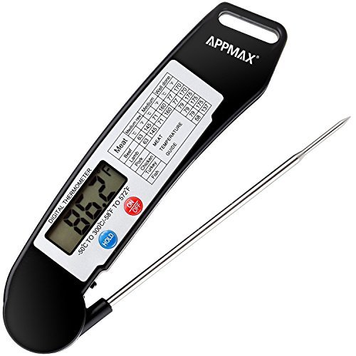 Cooking Thermometer,Appmax Digital Instant Read Thermometer for Cooking Food and BBQ,Meat Electronic Food Thermometer with Collapsible Internal Probe for Grill Cooking Kitchen Candy Water Sugar