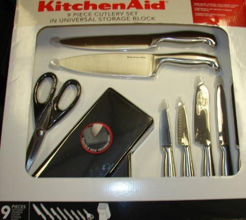 Amazon Com Kitchenaid Knife Set Stainless Steel Cutlery Hardwood Black Storage Block Kitchen Aid Knife Set Kitchen Dining