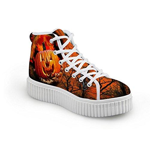 Bigcardesigns Kvinners Halloween Design Tilfeldige Flate Sko Høyde Top Sneakers Stil 11