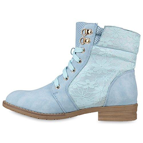 Übergrößen Stiefelparadies Schnürstiefeletten Damen Flandell Hellblau EESOxWqHn