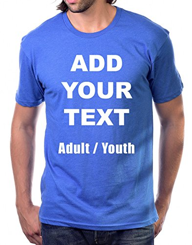 Custom T Shirts Ultra Soft Add Your Own Text Message Unisex Cotton T Shirt [Adult/HeatherBlue/M]