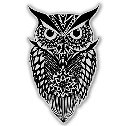 Owl tribal black white vinyl sticker car phone helmet select size