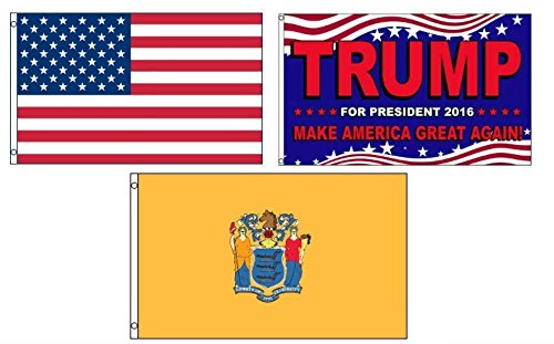 ALBATROS 3 ft x 5 ft Trump 2016 with USA American with State New Jersey Set Flag for Home and Parades, Official Party, All Weather Indoors Outdoors