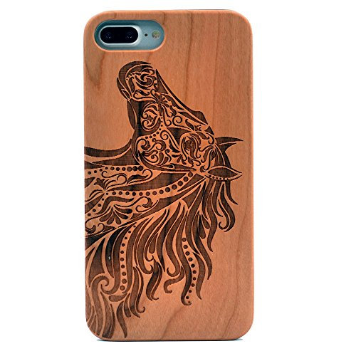 iPhone 8 Plus Case/iPhone 7 Plus Case, Natural Real Wood Carving Horse Head Pattern Slim Bumper Anti Scratch Durable Flexible Case for Apple iPhone 7 Plus,iPhone 8 Plus