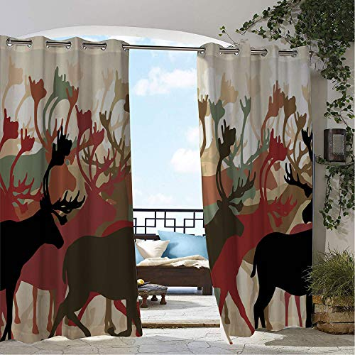 Linhomedecor Patio Waterproof Curtain Antler Reindeer Caribou Herd Migrating Colorful Silhouettes Wildlife Nature Theme Multicolor pergola Grommets Parties Curtains 108 by 96 inch]()