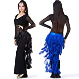 Sufang Sexy Women Egyptian Style Belly Dance Costume Tribal Tassel Hip Scarf Wrap Belt Skirt Fringes Dress Red one size