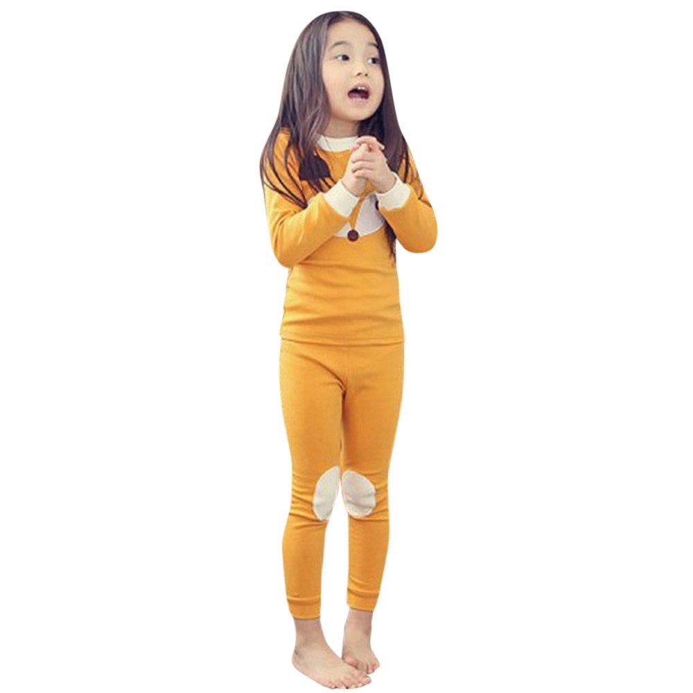 Suma-ma Animal Print Long Sleeve Tops+Pants Pajamas Home Outfits for Kids Baby Boys Girls (7T, Orange)