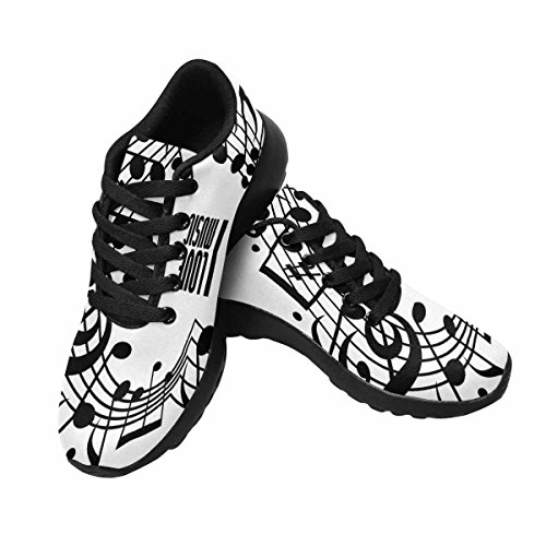 Casual Scarpe Da Donna Casual Soft Sport Da Corsa Scarpe Da Passeggio Cuore Realizzato Con Note Musicali E Clef, Bianco E Nero Multi 1