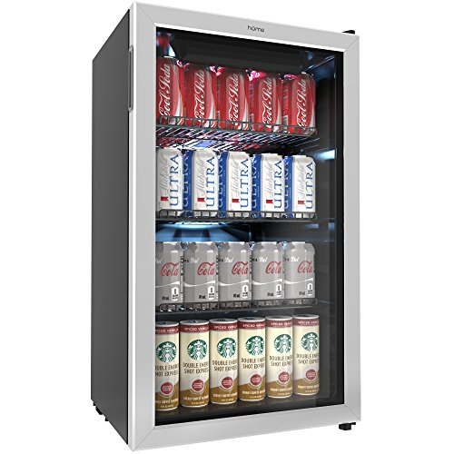 hOmeLabs Beverage Refrigerator and Cooler - Mini Fridge with Glass Door for Soda Beer or Wine - 120 Cans Capacity - Small Drink Dispenser Machine for Office or Bar with Adjustable Removable Shelves (Mini Wine Of Bottles)