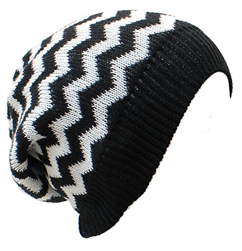 an Baggy Beanie Hat Cool Black and White Knit Zigzag Stripes Adults Teens