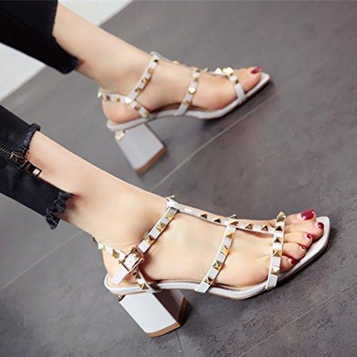 YMFIE de Heel Europeo Sandalias Moda Playa Shoes Toe Remache High a Correa Estilo Elegante Toe Calzado Señoras ahuecó Confort gcrwqazgO