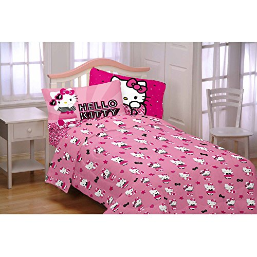 Hello Kitty 3-Piece Flannel Twin Sheet Set