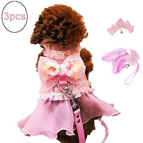 FLAdorepet 3Pcs Pink Dog Bow Dress Harness and Leash Set Breathable Mesh Small Dog Pet Cat Clothes Shirt Costume Dog Skirt,Dress,Hair Bow (XS, -