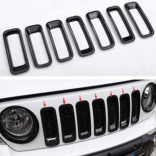 Sunny Car New 7x Black Grille Grid Guard Insert Trim Cover Kit For Jeep Patriot 2011-2016