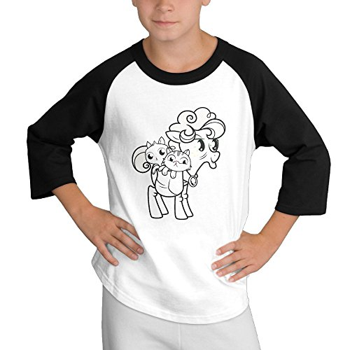 Price comparison product image MULTY9 Cute Pony Cat Child Youth 3/4 Baseball Tshirt Small