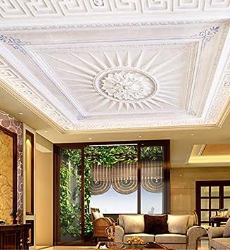 Kuamai Plafond européen de lignes blanches de papier peint mural