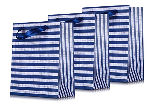 Navy Haute Striped Euro Tote Bags for Boutique Gifts, Party Favor, Wedding Gifts, Baby Shower, Kid's Birthdays, Anniversaries, and Gifts, (3 Pack ) Size 7