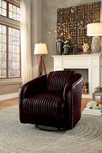 Homelegance Moderne Modern Swivel Club Chair with Nailhead Trim, Brown