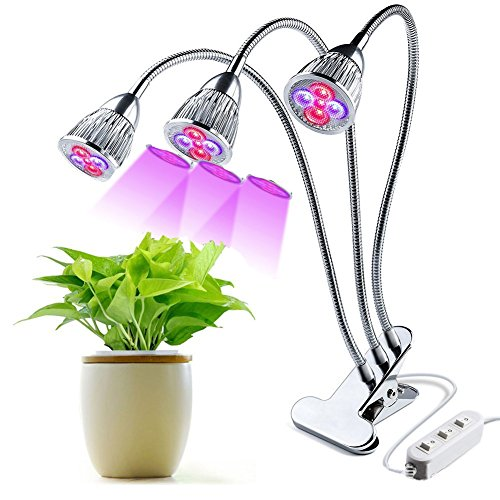 Indoor LED Plants Grow Light Bulbs, Rotating 3 Heads 15W Tech Growing Fill Light, Clip Refugium Lamps for Hydroponics Greenhouse Growing Succulent Fat Plants by Aquarius CiCi