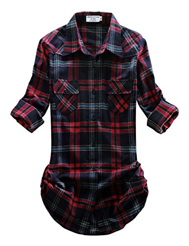 Match Women's Long Sleeve Plaid Flannel Shirt #2021(Large, Checks#15) ()