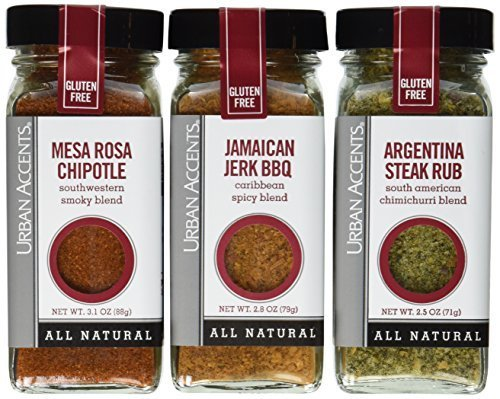 Urban Accents Latin Heat Seasoning, All Natural Gluten Free - Mesa Rosa Chipotle, Argentina Steak Rub, Jamaican Jerk BBQ by Urban Accents