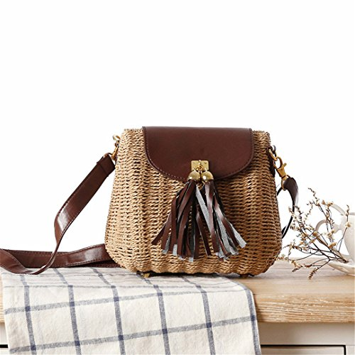 - Rattan Bags Handmade Summer Women Shoulder Bags Wicker Beach Bag Tassel Summer Handbags Straw Bags KS1165 Brown