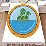 iPrint Bedding Duvet Cover Set 3D Print,Tropic Island View from The Bronze Ship Window,Fashion Personality Customization adds Color to Your Bedroom. by 90.5''x96.5''