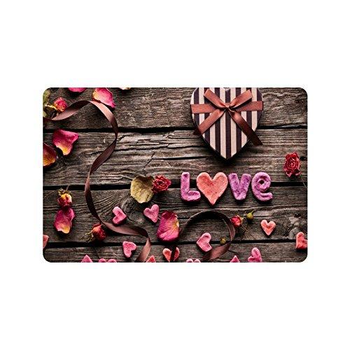 Happy Valentine's Day Gifts Presents Doormat Entrance Mat Floor Mat Rug Indoor/Outdoor/Front Door/Bathroom Mats Rubber Non Slip Size 23.6 x 15.7 inches