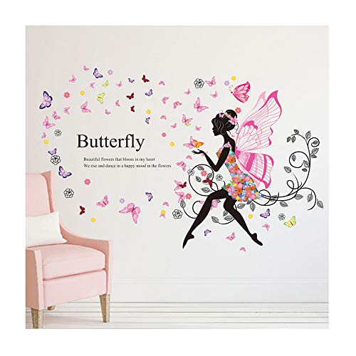 Alrens 43 x 48 Inch DIY Wedding Wall Stickers Home Decor Living Room Butterfly Flower Vine Princess Wings Fairy Art Wall Decal Kids Rooms Home Decor Decoration ()