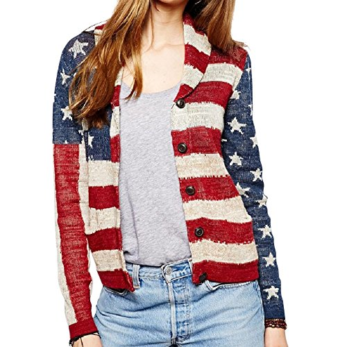 Denim & Supply Ralph Lauren Women's American Flag Print Shawl Cardigan, Small by RALPH LAUREN
