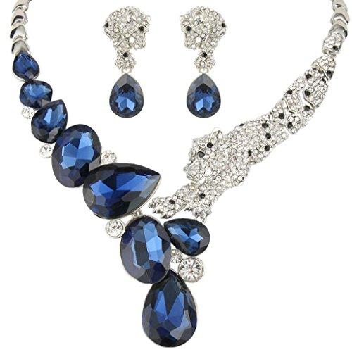 EVER FAITH Silver-Tone Austrian Crystal Tear Drop Leopard Jewelry Set Blue Sapphire Color