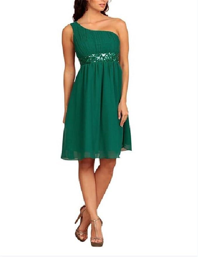 8661aa7aca5 Super Prom One Shoulder Kleider Pailletten Abendkleider Knielang kurz  elegant  Amazon.de  Bekleidung