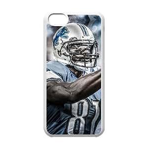 NFL iPhone 5c White Cell Phone Case Detroit Lions QNXTWKHE2730 NFL DIY Protective Phone Case Cover