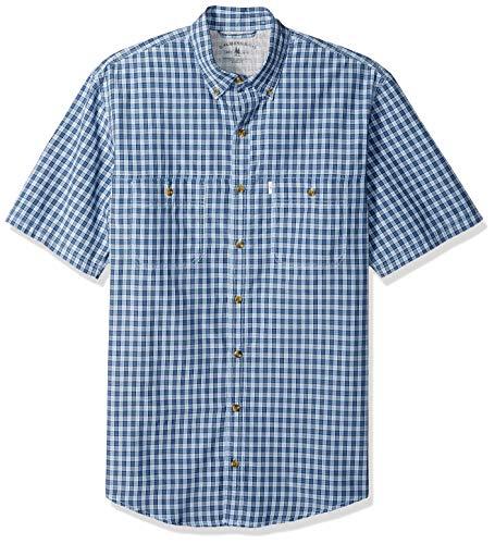 G.H. Bass & Co. Men's Big and Tall Explorer Short Sleeve Fishing Shirt Plaid Button Pocket, Chambray Blue 2, 2X-Large