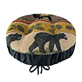 Woodlands Northwoods Bar Stool Cover with Adjustable Drawstring Yoke - Woodlands Lodge Collection - Latex Foam Fill Barstool Cushion - (Bears, Moose)
